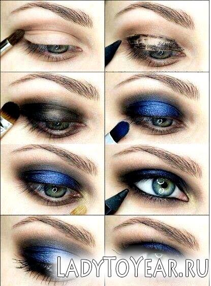 Вечірній макіяж для сіро-блакитних очей фото