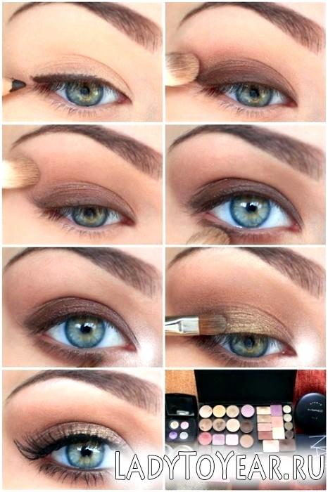 Денний макіяж для блакитних очей - покрокове фото