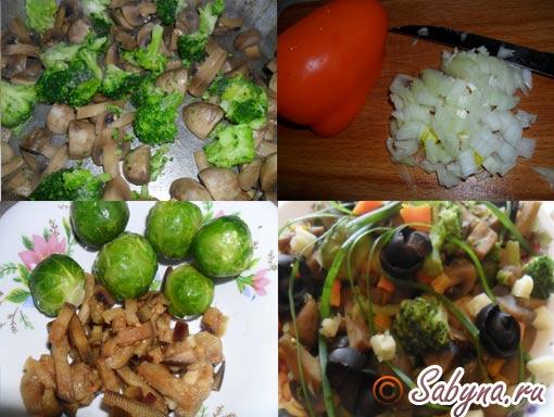 Для приготування овочевого рагу з грибами необхідні продукти: