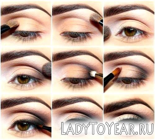 Двоколірний макіяж очей фото