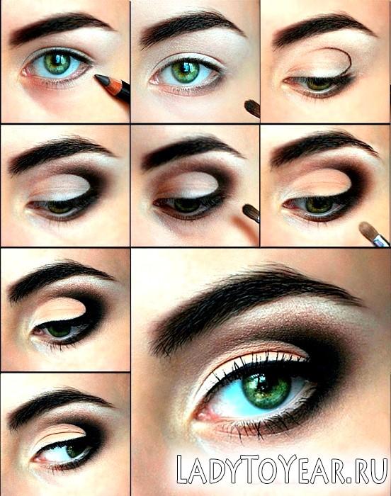 Макіяж для зелених очей і темного волосся фото