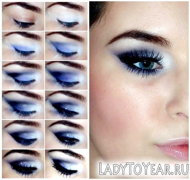 Макіяж для блакитних очей і темного волосся фото