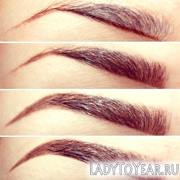 Правильні брови в макіяжі карих очей фото