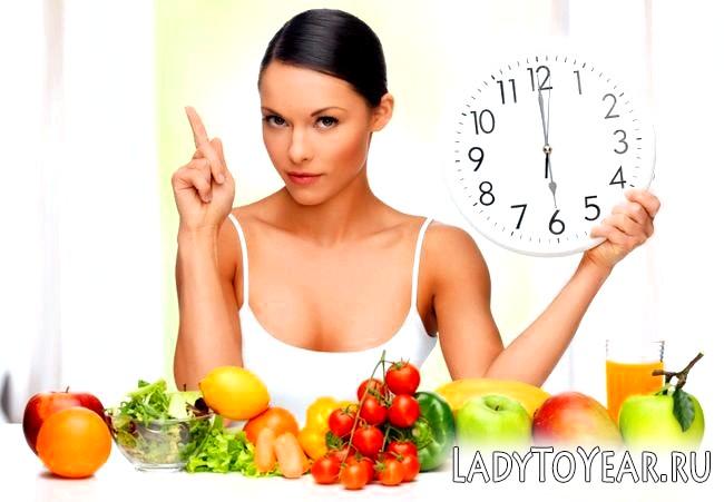 Дівчина, низькокалорійні продукти і годинник